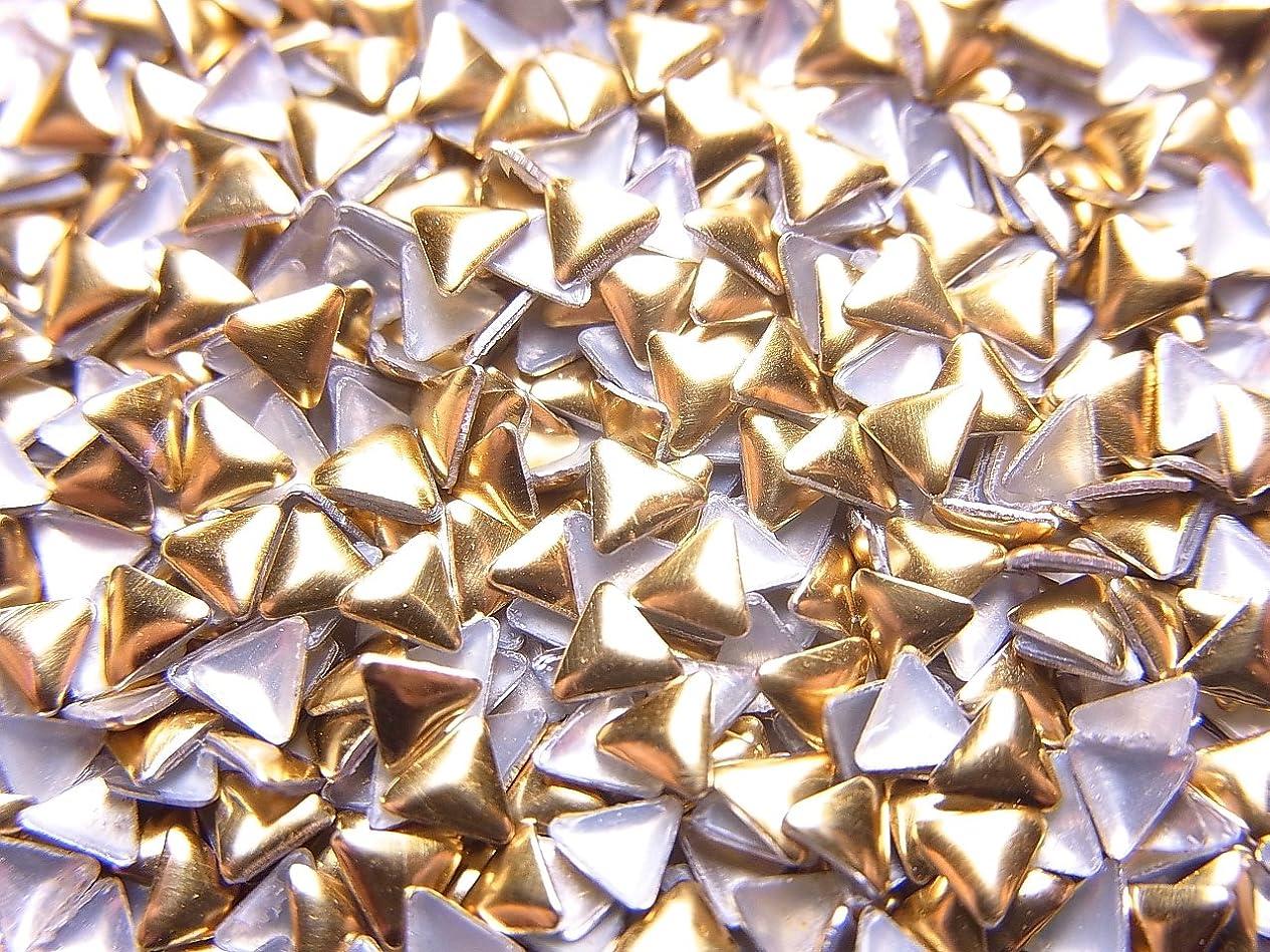 議題ロッカーピクニックをする【jewel】メタルスタッズ 多種類 ゴールドorシルバー 各サイズ 選択可能 (三角形(トライアングル) 3mm, ゴールド)