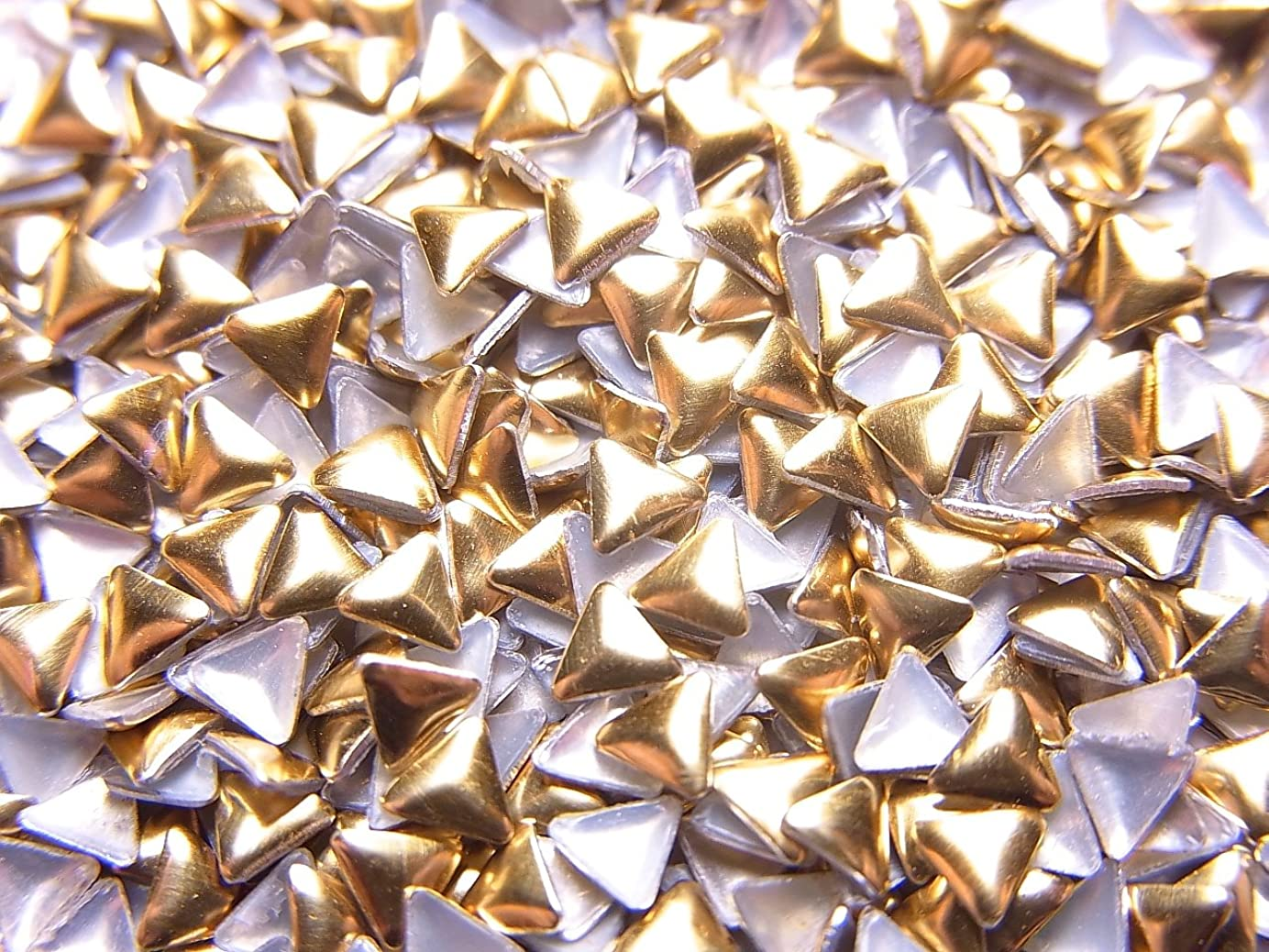 マーキング害特権【jewel】メタルスタッズ 多種類 ゴールドorシルバー 各サイズ 選択可能 (三角形(トライアングル) 3mm, ゴールド)