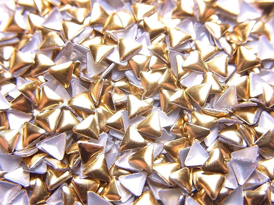 注釈野菜口述【jewel】メタルスタッズ 多種類 ゴールドorシルバー 各サイズ 選択可能 (三角形(トライアングル) 3mm, ゴールド)