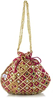 Heart Home 3-Layer Silk Traditional Mirror Work Clutch Potli Batwa Pouch Hand Bag for Bridal, Casual, Party, Wedding (Pin...