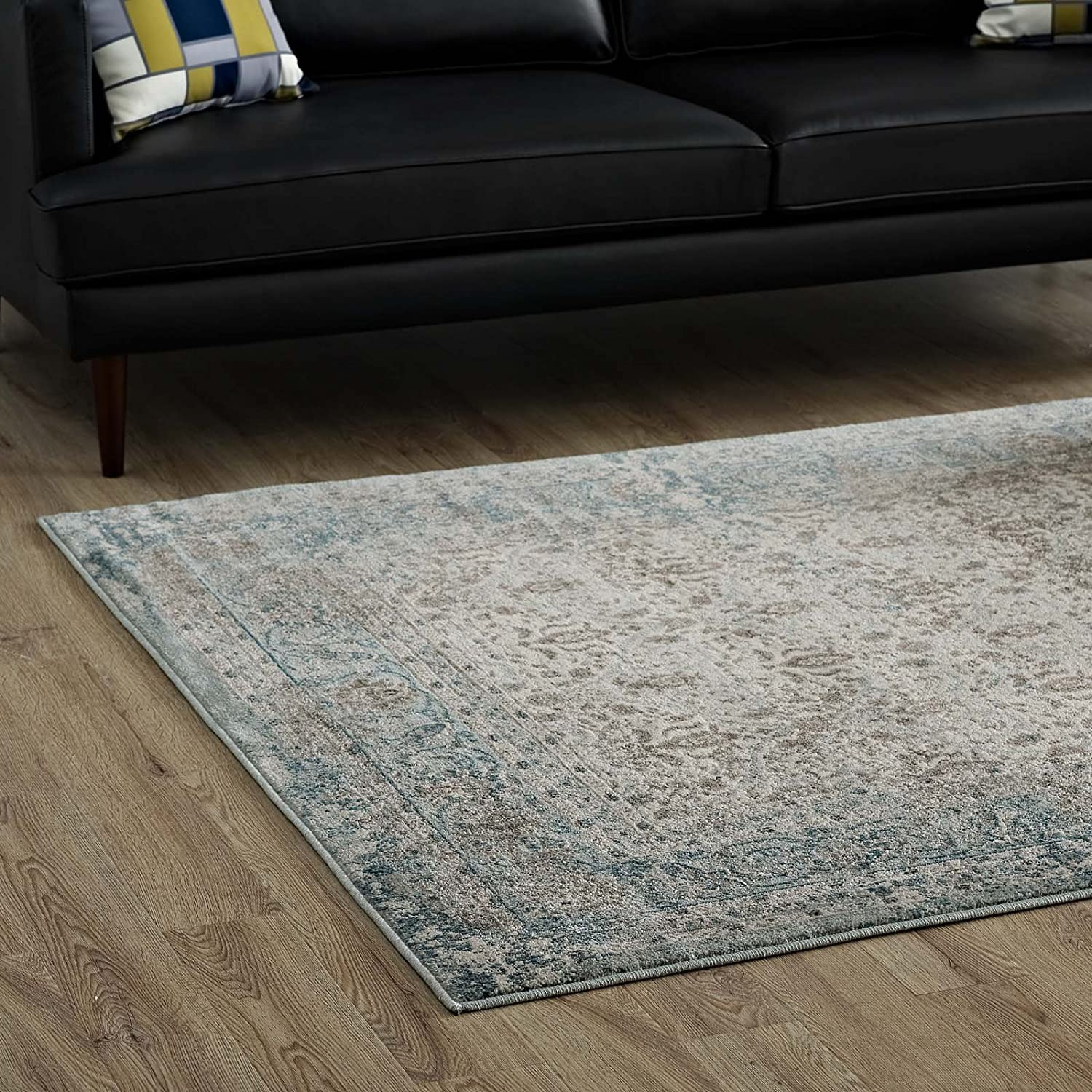 OFFicial service Modway Dilys Distressed Vintage Floral Lattice In T Area 5x8 Rug