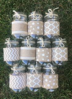 White and Burlap Sleeves for Mason Jars, Burlap Wraps, Sleeves and Twine Only, Set of 10