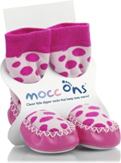 Mocc Ons Clever Little Moccasin Slipper Socks for Baby and Toddler - Pink Spots