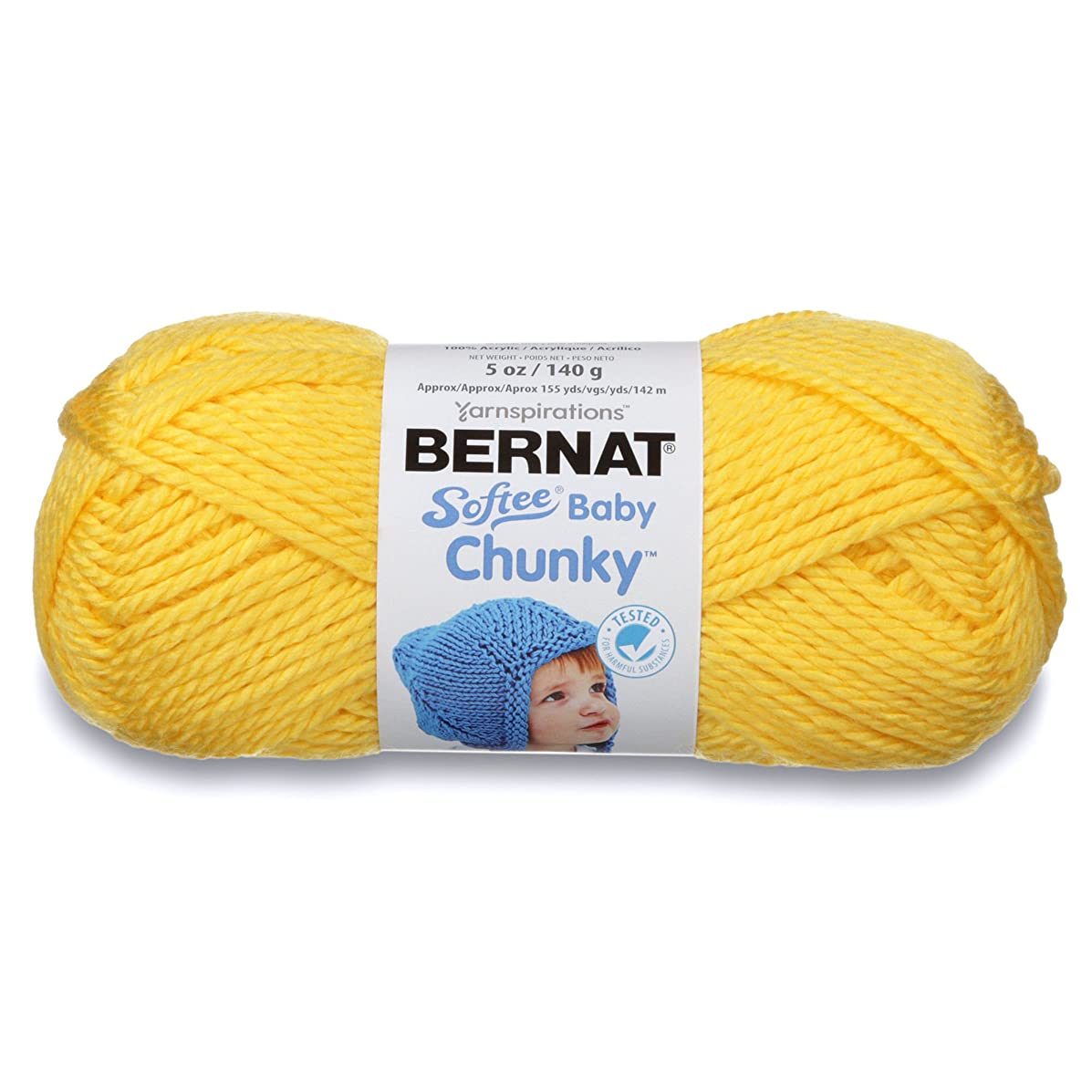 Bernat Softee Baby Chunky Yarn, Solid, 5 oz, Gauge 5 Bulky Chunky, Buttercup