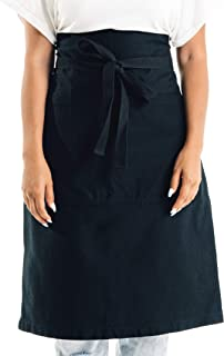 Caldo Cotton Bistro Apron - 3 Pockets, Tall Length 23 x 27 with 40 Inch Waist Ties - Unisex Uniform for Server, Waiter, Waitress, Coffee Shop, Cafe, Bartender, Catering (Black)