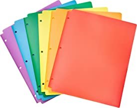 AmazonBasics Plastic 3 Hole Punch Folders with 2 Pockets, Multicolor Pack of 6
