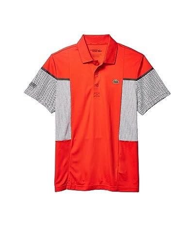 Lacoste Short Sleeve Mesh Inset Color-Block Polo (Corrida/White/Black/Black) Men