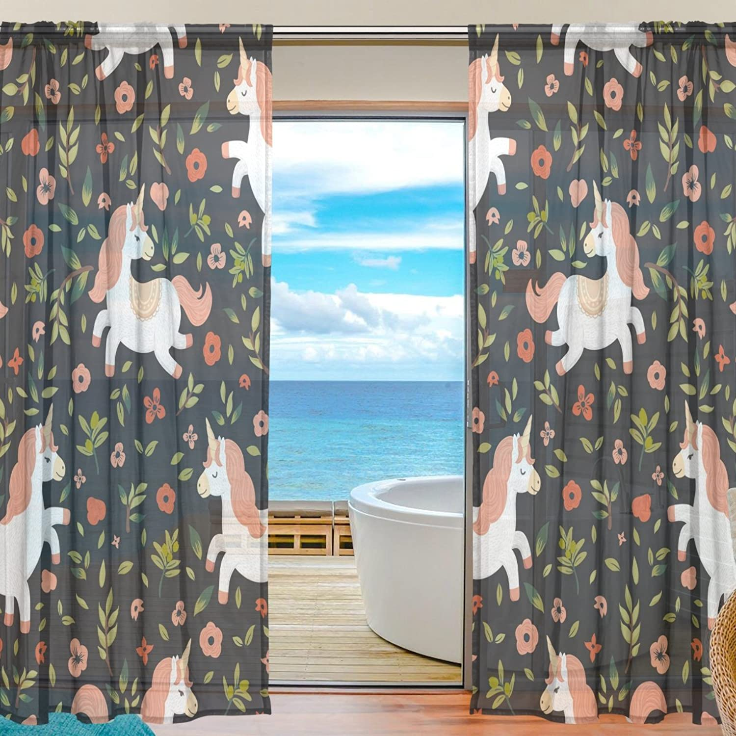 Vantaso Sheer Curtains 78 inch Baby Unicorn Funny in Flowers Green Leaves for Kids Girls Bedroom Living Room Window Decorative 2 Panels
