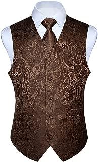 HISDERN Men's Paisley Floral Jacquard Waistcoat & Necktie and Pocket Square Vest Suit Set