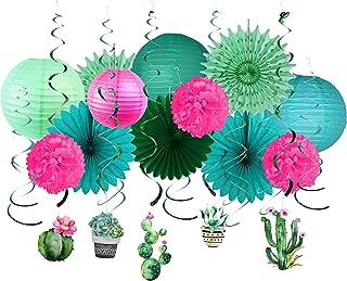 Paper Jazz Cactus Swirl Lantern Fan kit Pack for Baby Shower Birthday Nursery Room Party dercoration