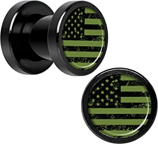 Black Anodized Steel Green American Flag Screw Fit Plug Set of 2 5mm to 20mm