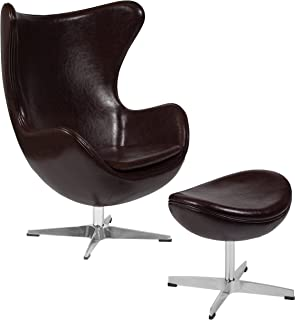 Flash Furniture Brown Leather Egg Chair with Tilt-Lock Mechanism and Ottoman