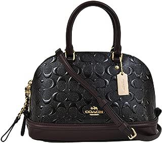 Coach Signature Debossed Patent Leather Mini Sierra Satchel, F55450 (Black, Oxblood)