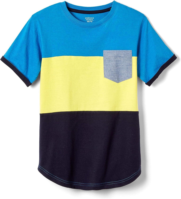 French Toast Boys' Short Sleeve Colorblock Pocket Tee