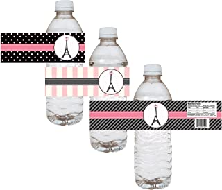 Paris Water Bottle Labels - Birthday Baby Shower Bridal Wedding Party - Set of 12