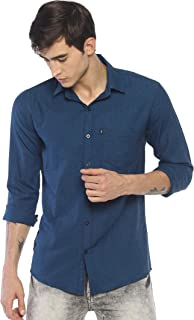 LEVIZO 100% Cotton Solid Casual Classic Fit Shirt Full Sleeves for Men