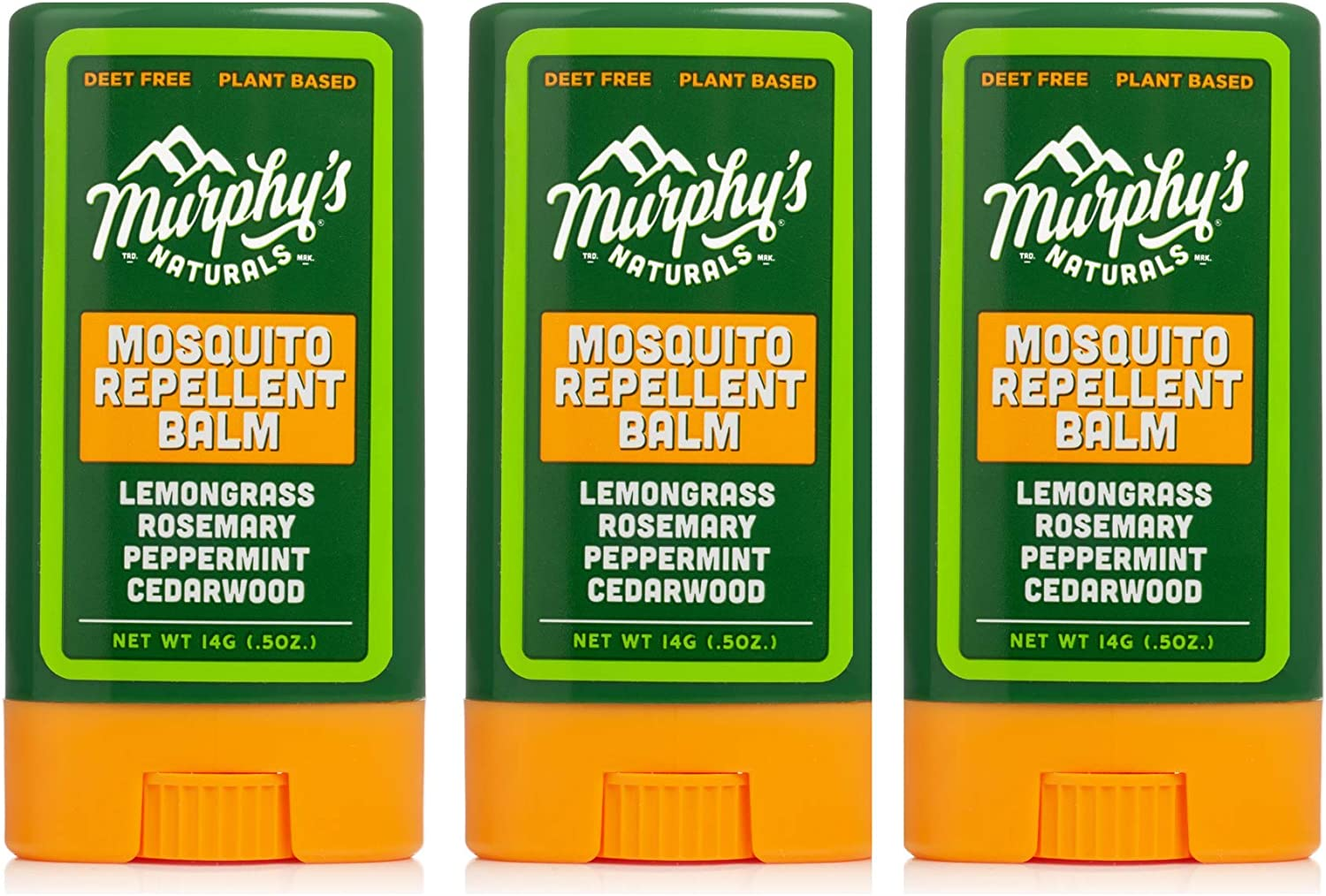Murphy's Naturals Mosquito Repellent Balm Stick | Plant Based, Natural Ingredients | DEET Free | Travel/Pocket Size | 0.5 oz | 3 Pack