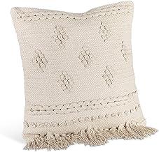Lone Elm Studios Cotton Woven Square Pillow Home Decor, 18InL x 18InW x 5.5InH, Tan