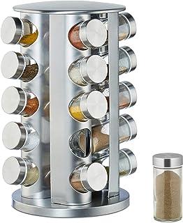 Relaxdays Kryddkarusell med 20 kryddburkar, 360° roterbara, kryddburkar för spridning, 34,5 cm hög, rostfritt stål, silver
