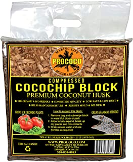 Prococo CocoChip Premium Coconut Husk organic coconut coir chips makes 75 quarts of coco coir growing media for planting