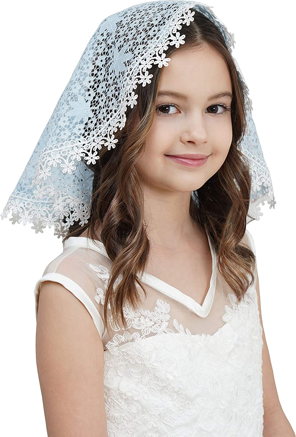 Lace Head Covers for Girls First Cummunion Veils Girl Mass Headcovering V88