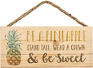 Graham Dunn Be A Pineapple Stand Tall Natural Brown 7 x 7 Wood Decorative Framed Art Sign P