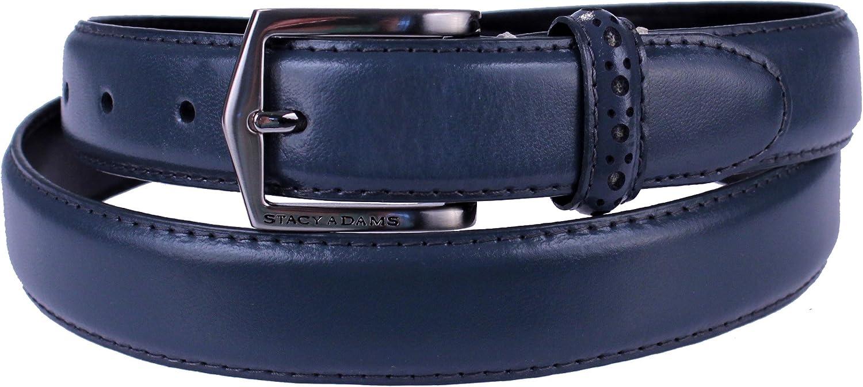 Stacy Adams 6-087 Leather Mens Adjustable Belt, Brushed Buckle