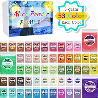 Mica Powder Pure 53 Color - Pearl Epoxy Resin Color Pigment - Cosmetic Grade Slime Coloring Pigment - Natural Soap Dye for Soap Making Supplies Kit, Bath Bomb Colorant, Paint, Nail Art - 0.18oz Each