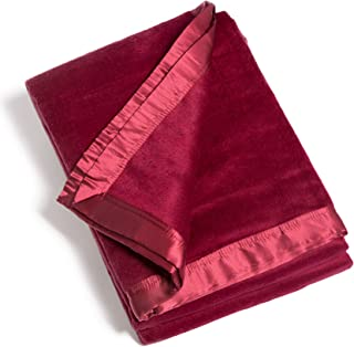 Fishers Finery Micro Velvet Fleece Blanket with 100% Silk Trim (Red, Queen)