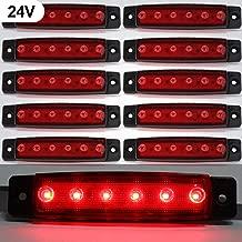Luces de marcador lateral de LED,Indicadores de posición Rojo 24V Impermeable Lámparas laterales led para camión remolque Lorry Cab Bus Barco Tractor autocaravana 10pcs
