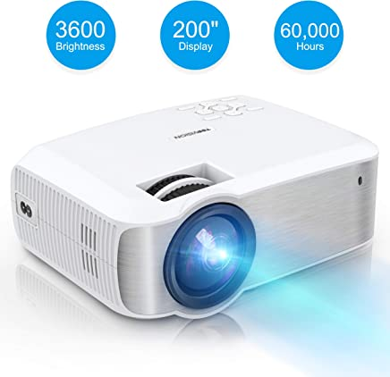 Video Projector, TOPVISION Full HD LED Projector with 3600Lux 2019 Upgraded, 60,000 Hrs Home Movie Projector 1080P Supported for Indoor/Outdoor, Compatible with Fire TV Stick, PS4, HDMI, VGA, AV, USB