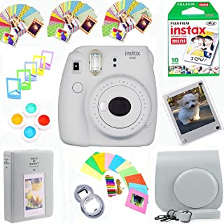 Fujifilm Instax Mini 9 Film Camera (Smokey White) + Film Pack(10 Shots) + Photix Pleather Case + Filters + Selfie Lens + A...