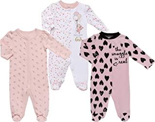 Mini B. by Baby Starters 3-Pack Sleep and Play Layette Set (Multi Color, Girl Prints, 3-6M)