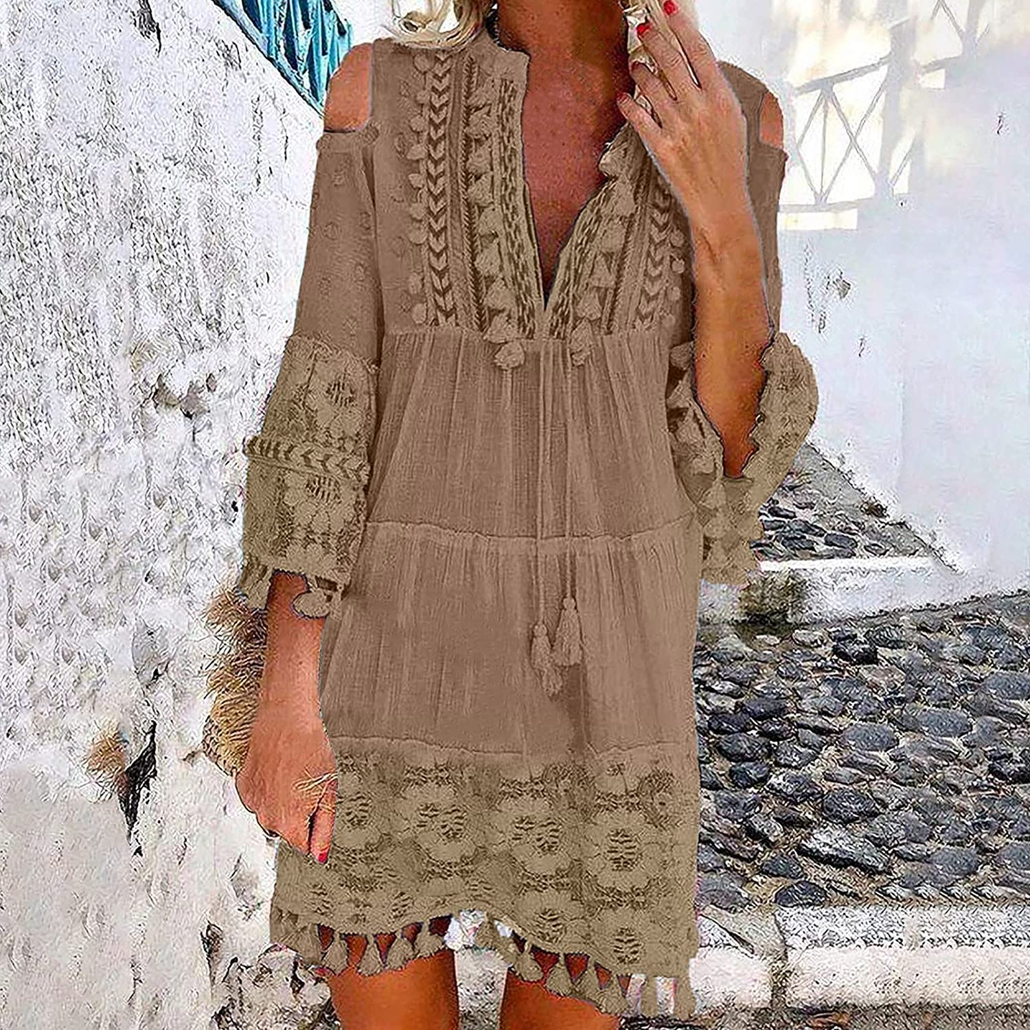 GOODTRADE8 Summer Dresses Maxi Dress Women Loose Casual Solid Lace Embroidery Patchword Dress V-Neck Dress