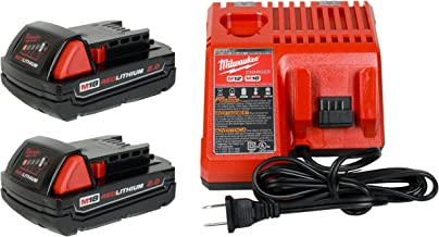 Milwaukee 48-59-1812 12V/18V Battery Charger and (2) 48-11-1820 18V 2.0Ah Batteries