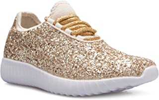 5511be59b48f OLIVIA K Kids Girls Boys Easy On Casual Fashion Sparkly Glitter Sneakers -  Comfort, Lightweight