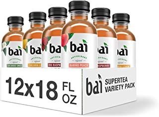Bai Iced Tea, Supertea Variety Pack, Crafted with Black Tea and White Tea, 18 Fluid Ounce Bottles, 12 count, 3 each Socorro Sweet Tea, Narino Peach Tea, Tanzania Lemonade Tea, Rio Raspberry Tea