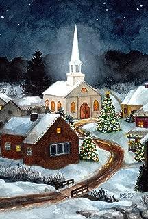 Toland Home Garden Winter Church 28 x 40 Inch Decorative Snow Christmas Tree Scene Holiday House Flag - 109670