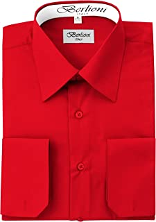 Berlioni Men's Dress Shirt -Convertible French Cuffs -Huge Color Selection