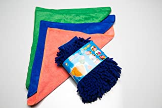 Best Premium Ultra Soft Microfiber 4pc Car Wash Set. Includes Hand Washing Mitt, 3Super Absorbent Microfiber Drying / Polishing Towel / Rag. Pick Color Glove & Towels / Rags Come Assorted. (Navy Blue)