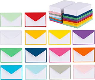 140 Mini Envelopes with White Blank Note Cards, Colorful Mini Envelopes 14 Assorted Colors 4x 2.7 for Business Cards, Gift Cards