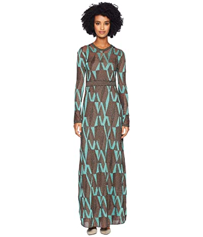 M Missoni Geo Lurex Maxi Dress (Turquoise) Women