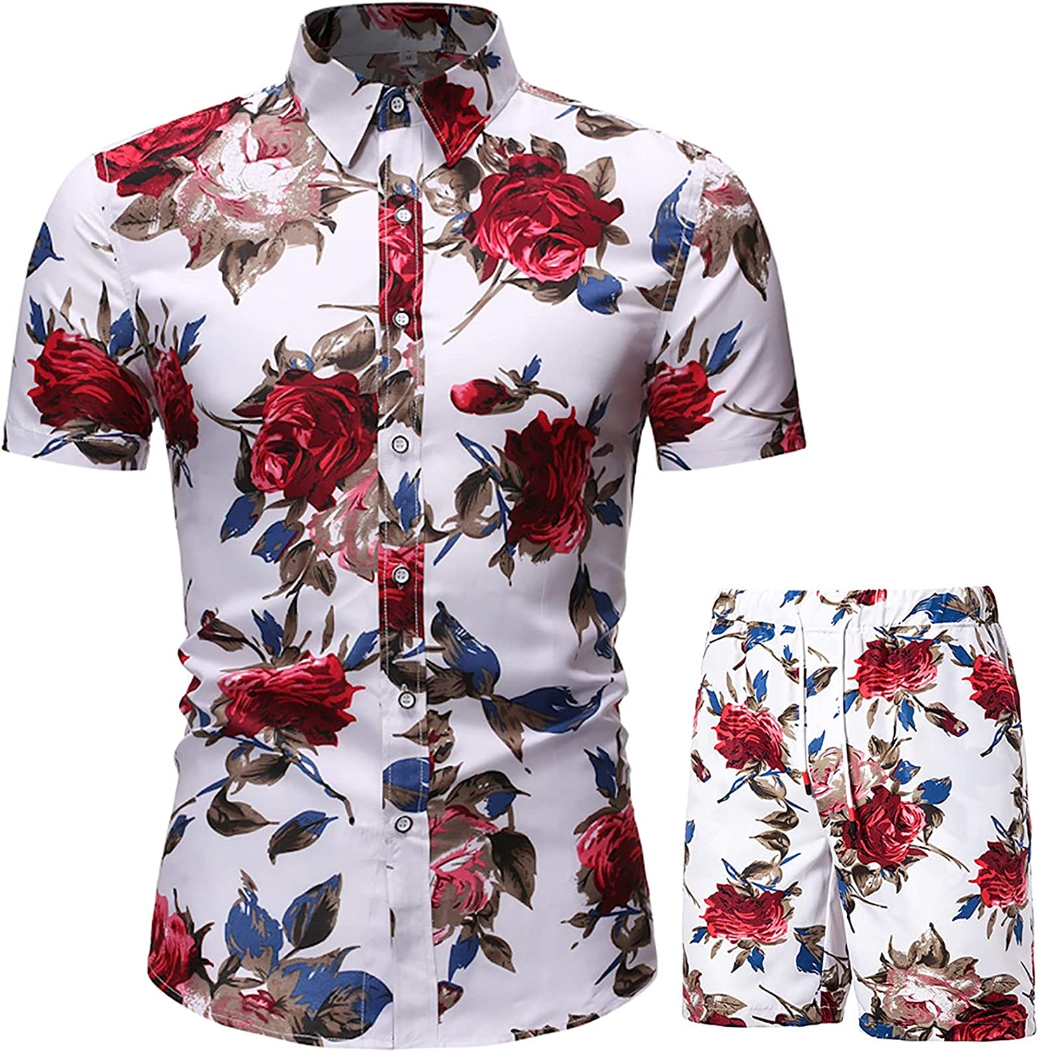 Men 2 Piece Short Sets Outfits Summer Beach Wear Two-Piece Suits Floral Hawaiian Sweat Suit Sleeve Shirts & Shorts Sets