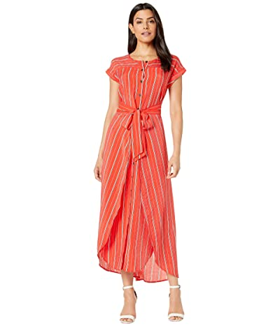 Vince Camuto Extended Shoulder Chic Stripe Wrap Waist Dress (Crimson Red) Women