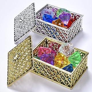 Hercugifts Diving Gem Pool Toy 16 Colorful Diamond Set with Two Treasure Box and Golden mesh Bag Summer Swimming Gem Pirat...