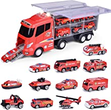 12 in 1 Die-cast Fire Truck Toys, Fire Engine Vehiclelay in Carrier Truck