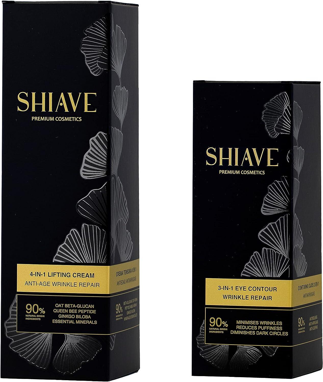 SHIAVE Premium Cosmetics Ritual Pack Belleza Facial: CONTORNO DE OJOS ANTIARRUGAS 15ml + CREMA NUTRICIÓN ANTIEDAD ANTIARRUGAS 50ml. Quinoa y Ginkgo Biloba. Regenera y nutre. 100% vegano