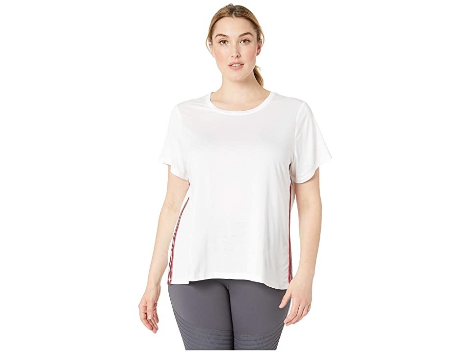 SHAPE Activewear Plus Size Track Star Tee (White) Women