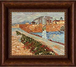 overstockArt Vincent Van Gogh Langlois Bridge at Arles with Road alongside the Canal 8-Inch by 10-Inch Framed Oil on Canvas
