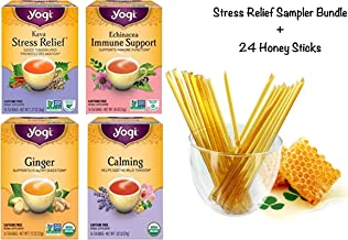 Yogi Tea Stress Relief Sampler Bundle (Pack of 4) 64 Tea Bags Total, Caffeine Free - Herbal Tea Assorted Variety Flavors Including - Kava, Echinacea Immune Support, Ginger, and Calming